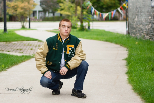 Matthew 18 letterman jacket senior portrait michigan