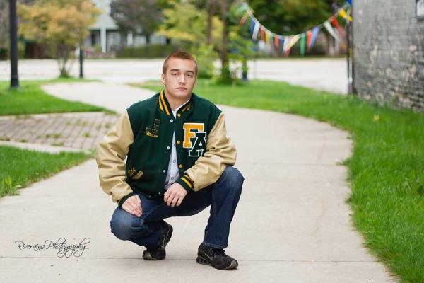 Matthew 18 letterman jacket senior portrait michigan