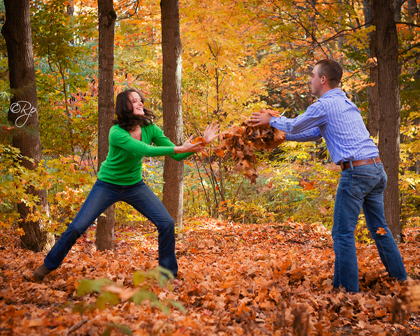 fun fall engagement pictures