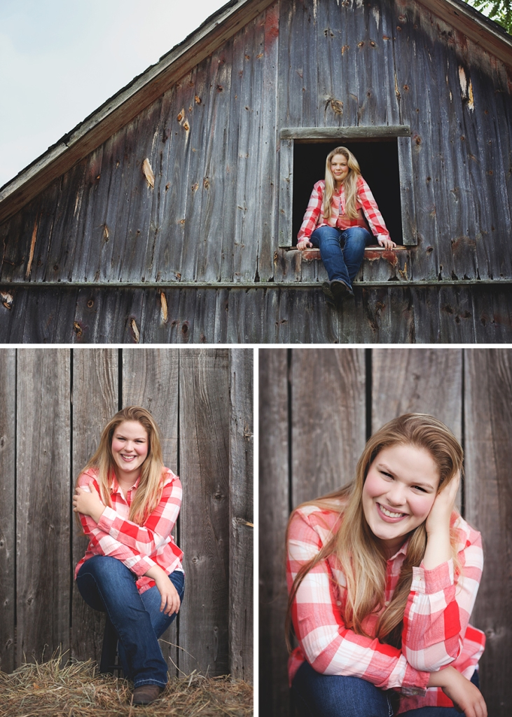 Outdoor rustic senior pictures barn northern michigan
