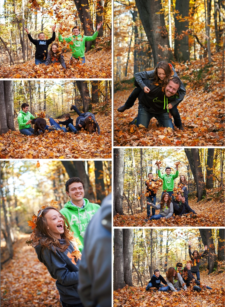 Family Playing In the Fall Leaves Torch Lake Michigan