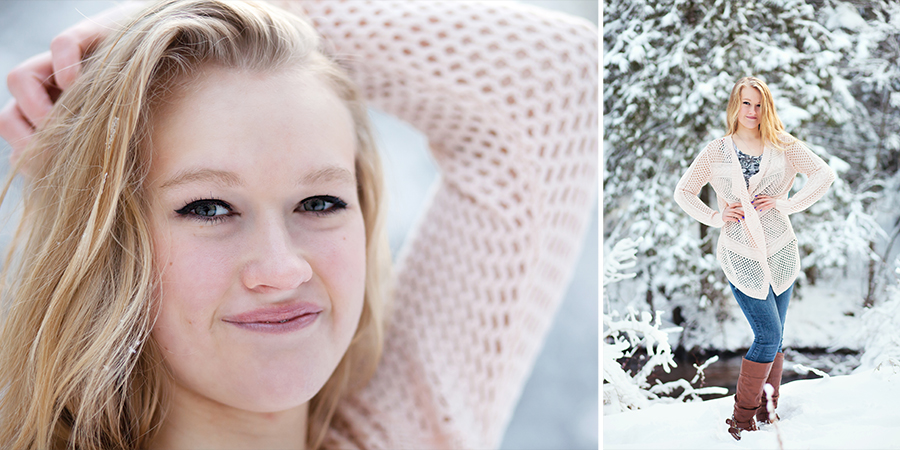 Outdoor Winter Senior Ideas Photo Shoot Kalkaska