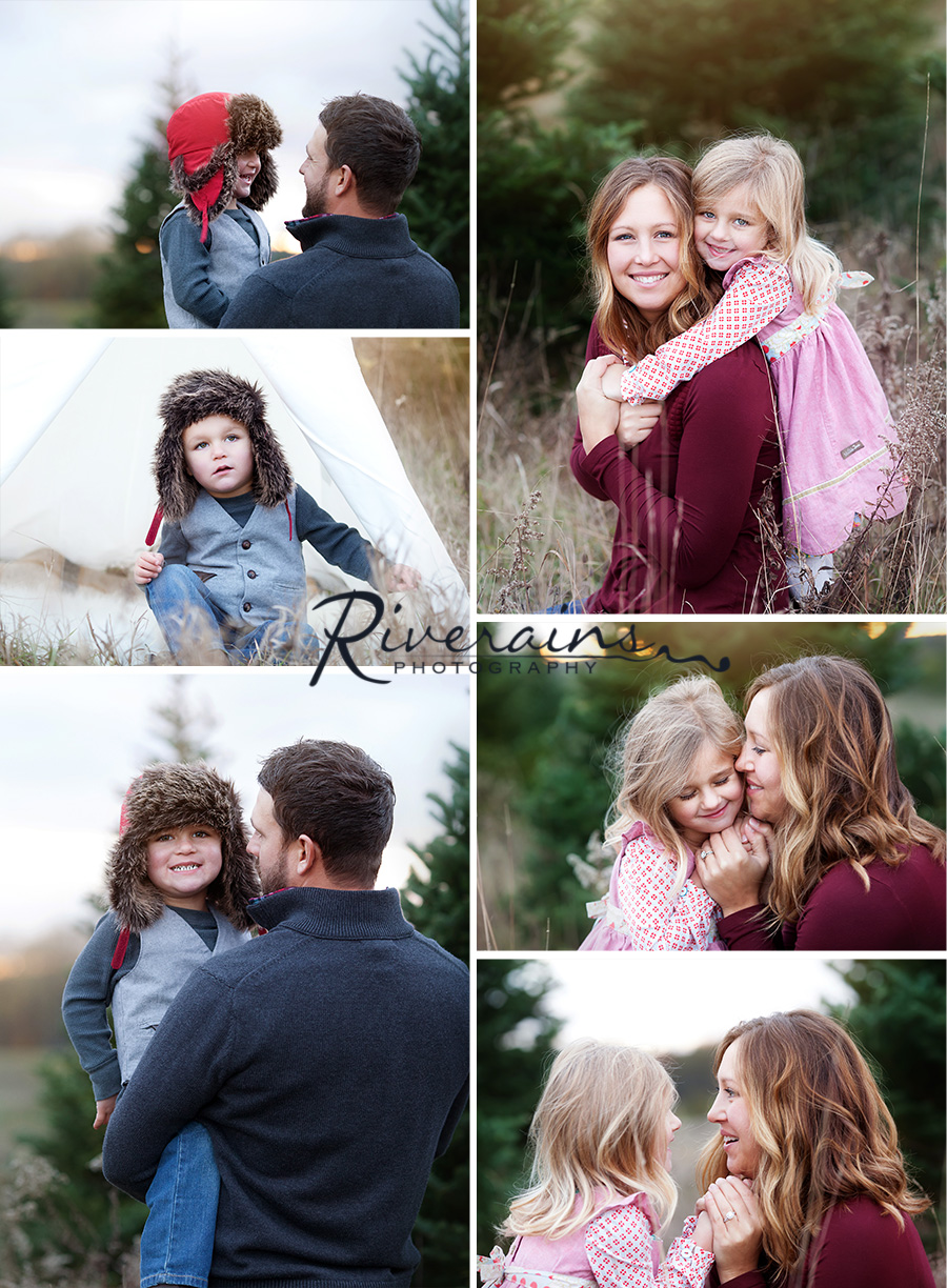 Family Outdoor Christmas tree farm photography