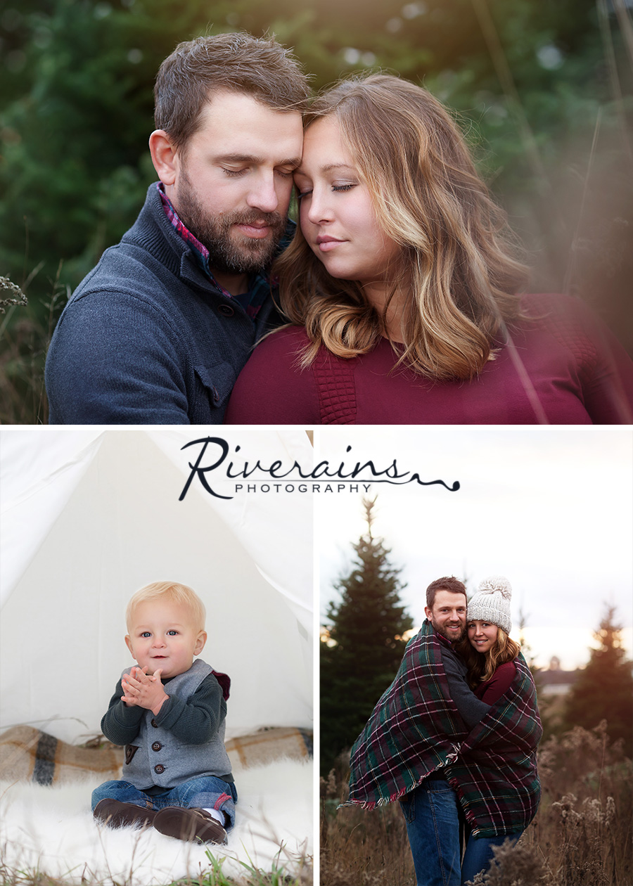 Happy Family Fall Christmas Photo Shoot Michigan Photographer