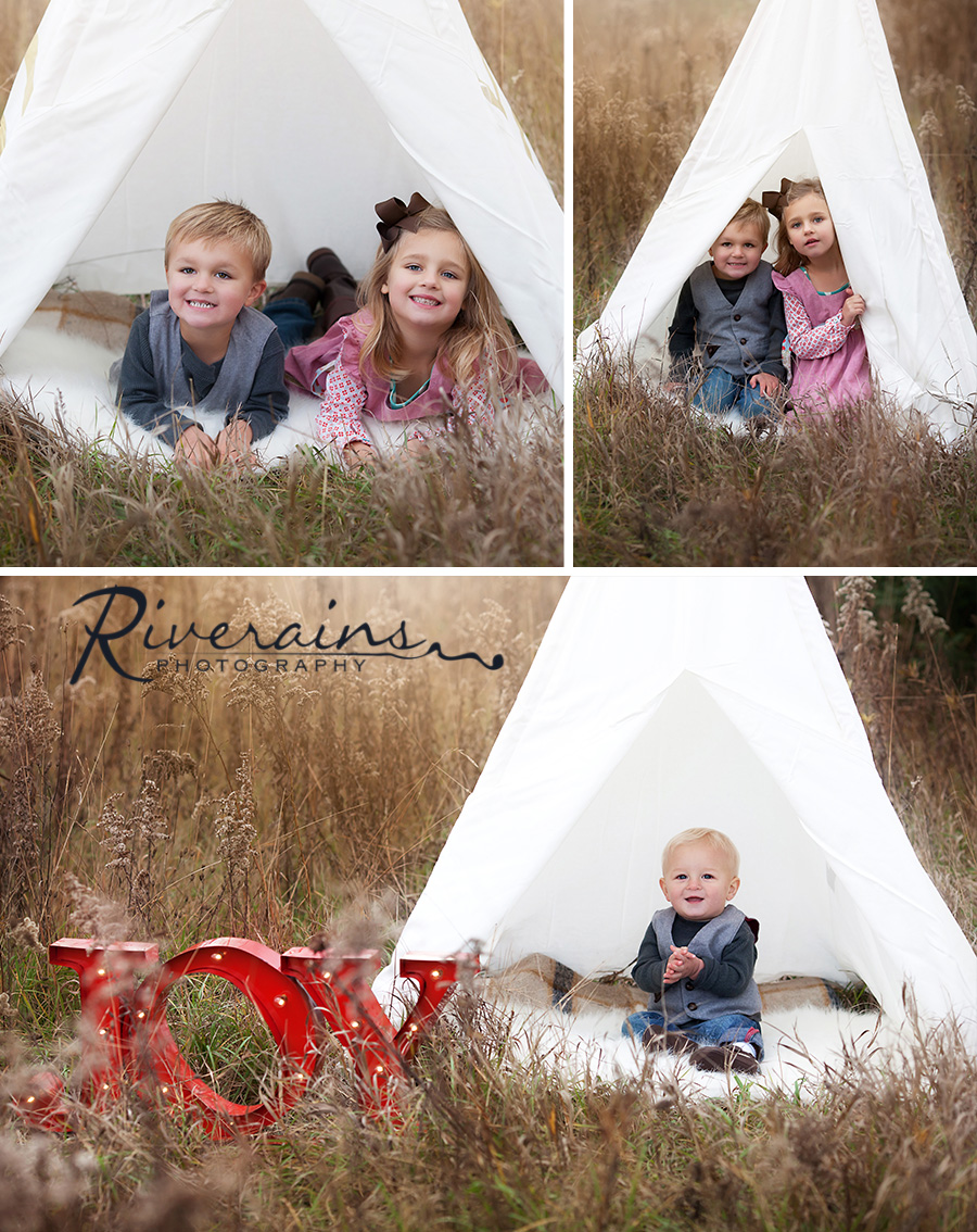 Kids in Field Michigan photographer family christmas card