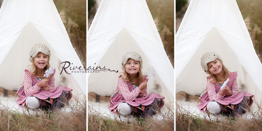 Outdoor photo shoot tent teepee girl