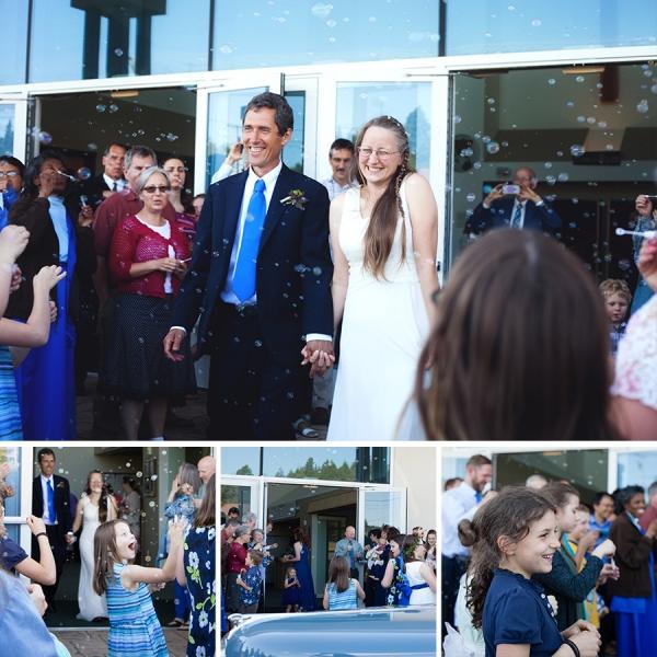 Wedding Reception Getaway Bubbles Classic Car